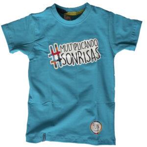 camiseta azul cuello redondo hastag multiplicando sonrisas